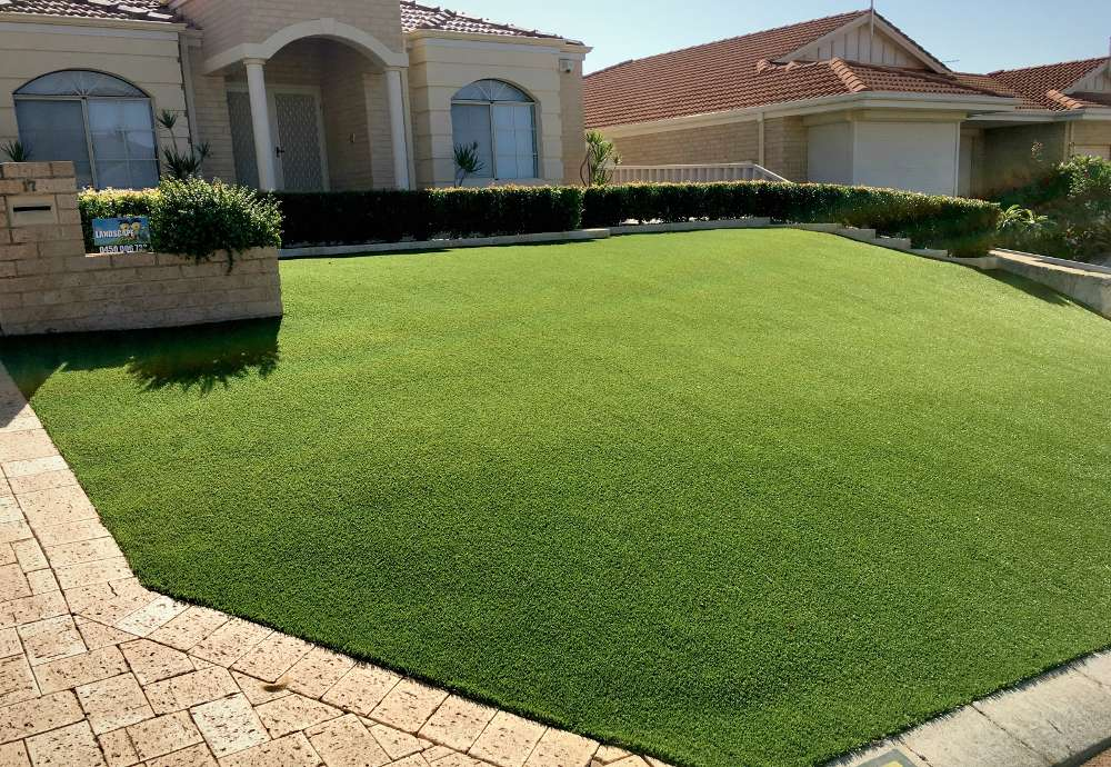 close up of artificial lawn in a frontyard