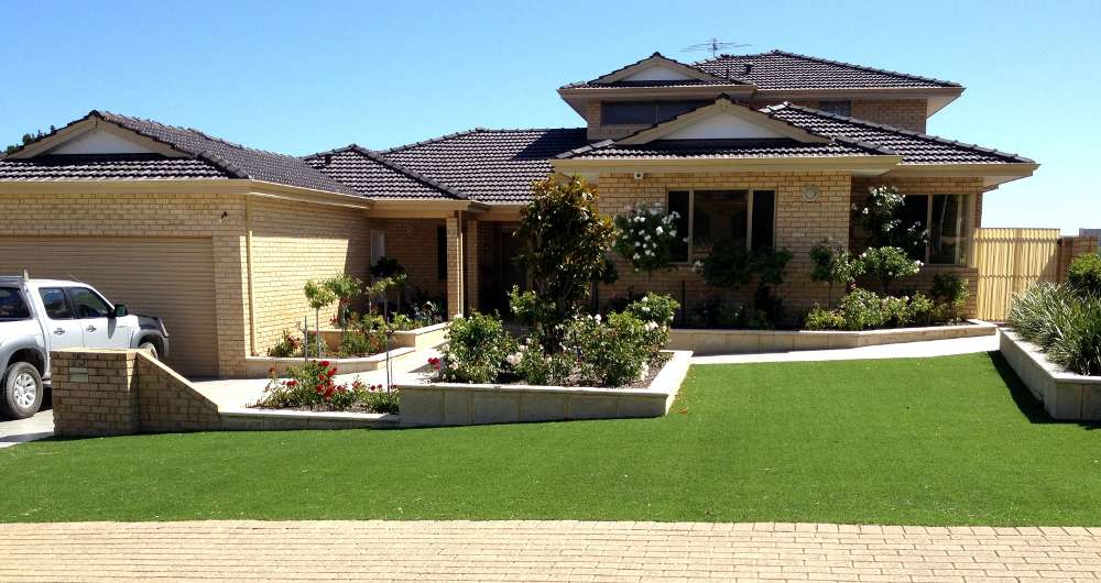 artificial lawn outside front of house