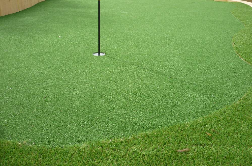 golf artificial turf putting green close up