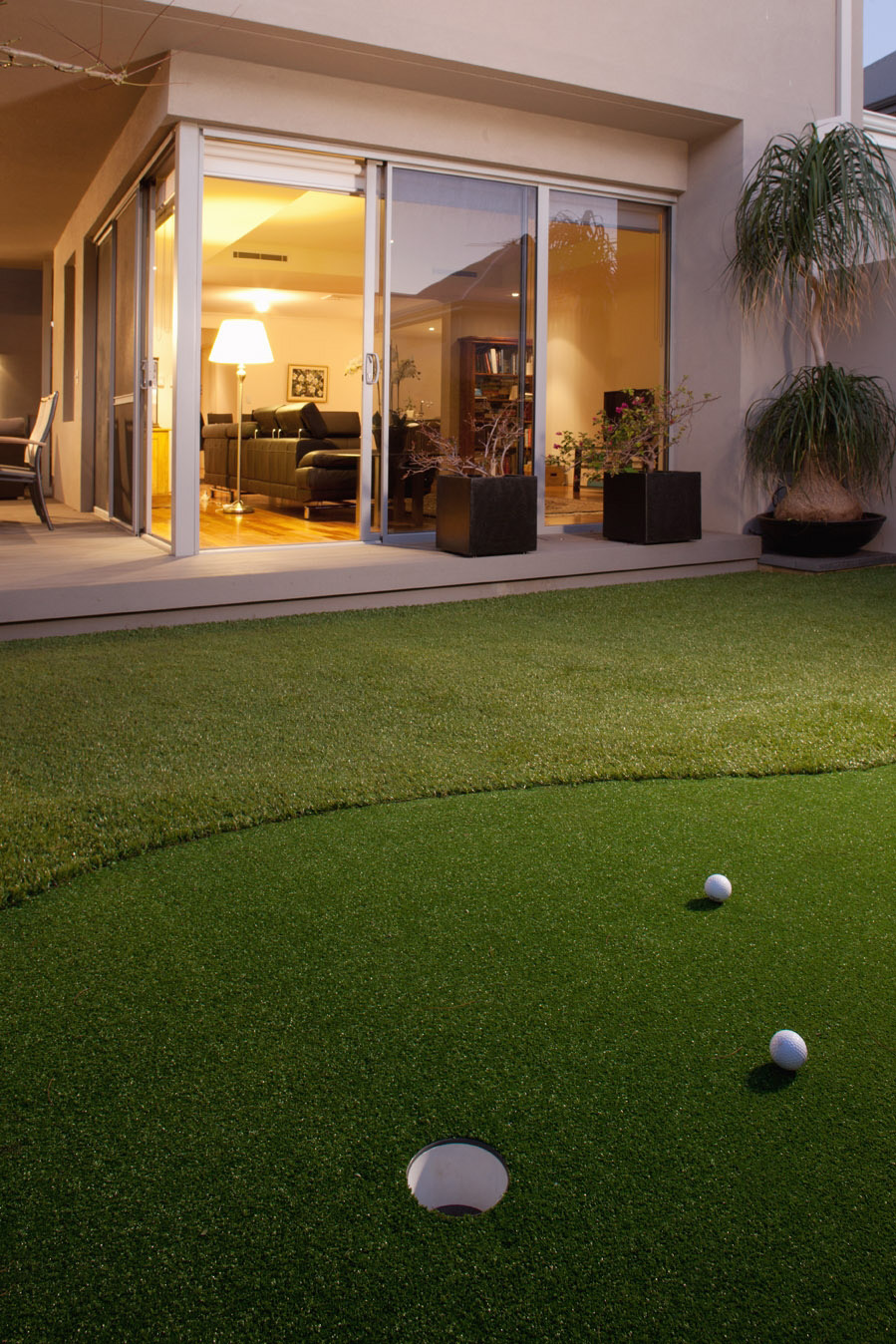 artificial turf putting green in North Coogee backyard